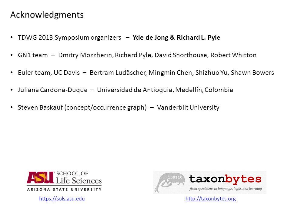 TDWG 2013 Symposium organizers – Yde de Jong & Richard L.