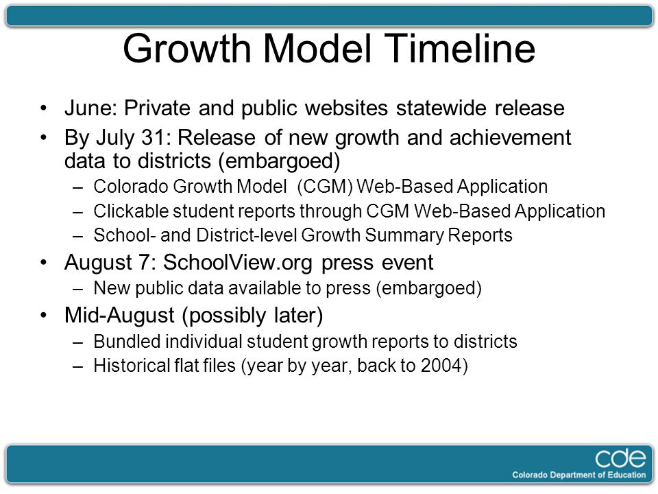 Growth Model Timeline June: Private and public websites statewide release By July 31: Release of new growth and achievement data to districts (embargo