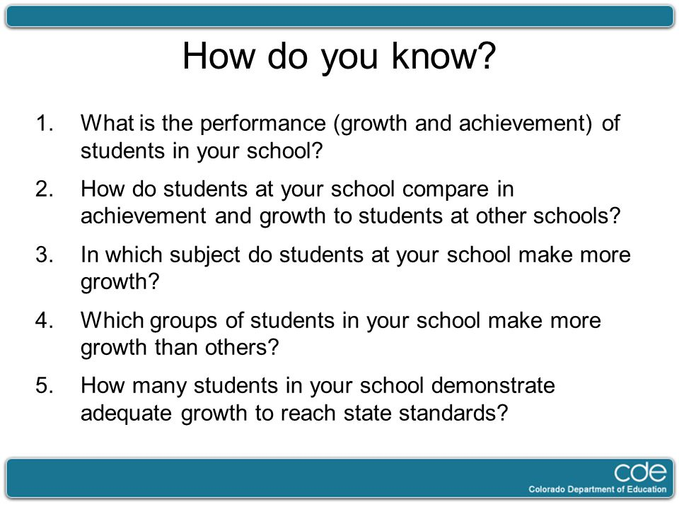How do you know. 1.What is the performance (growth and achievement) of students in your school.
