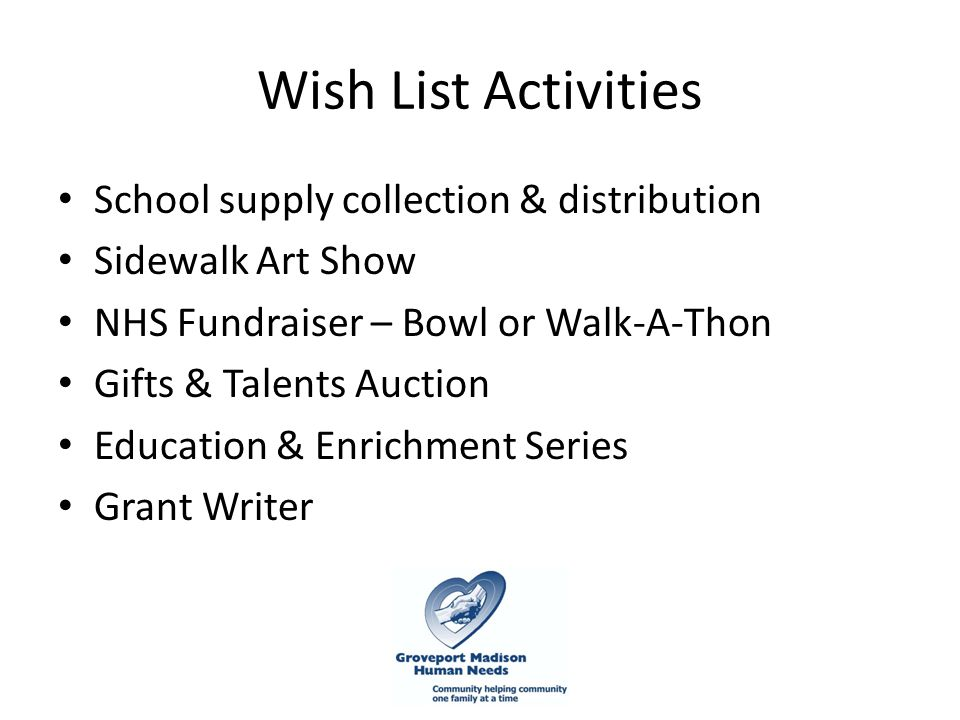 Wish List Activities School supply collection & distribution Sidewalk Art Show NHS Fundraiser – Bowl or Walk-A-Thon Gifts & Talents Auction Education & Enrichment Series Grant Writer