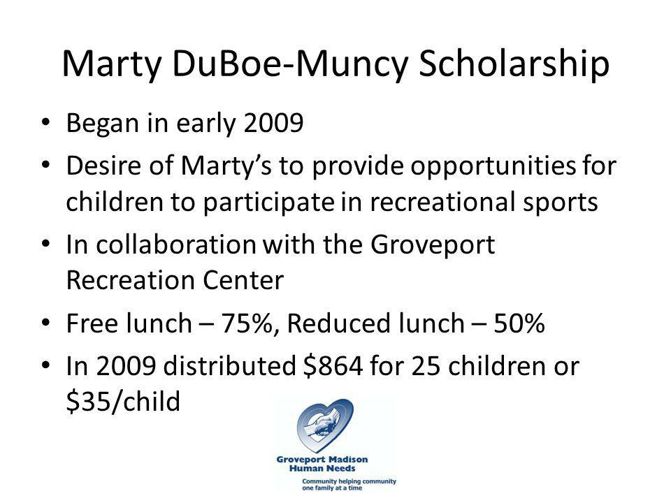 Marty DuBoe-Muncy Scholarship Began in early 2009 Desire of Marty's to provide opportunities for children to participate in recreational sports In collaboration with the Groveport Recreation Center Free lunch – 75%, Reduced lunch – 50% In 2009 distributed $864 for 25 children or $35/child