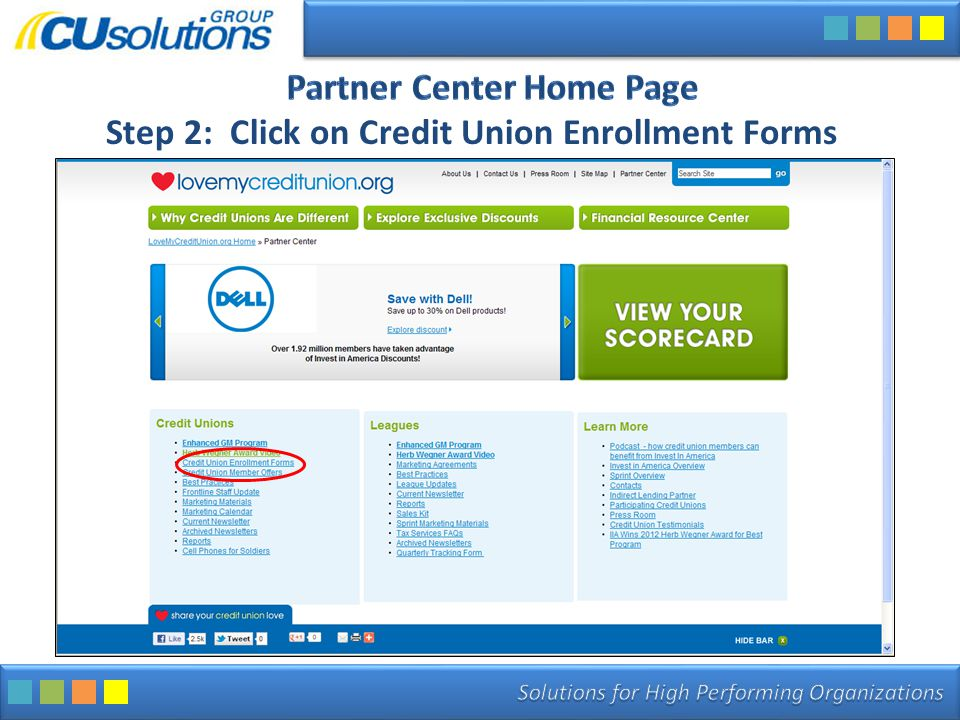 Step 2: Click on Credit Union Enrollment Forms