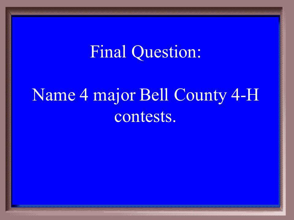 Final category The category is Bell County Write down how much you want to wager