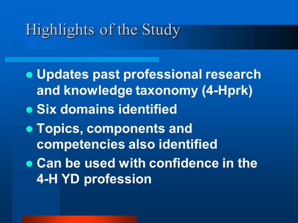 Highlights of the Study Updates past professional research and knowledge taxonomy (4-Hprk) Six domains identified Topics, components and competencies also identified Can be used with confidence in the 4-H YD profession