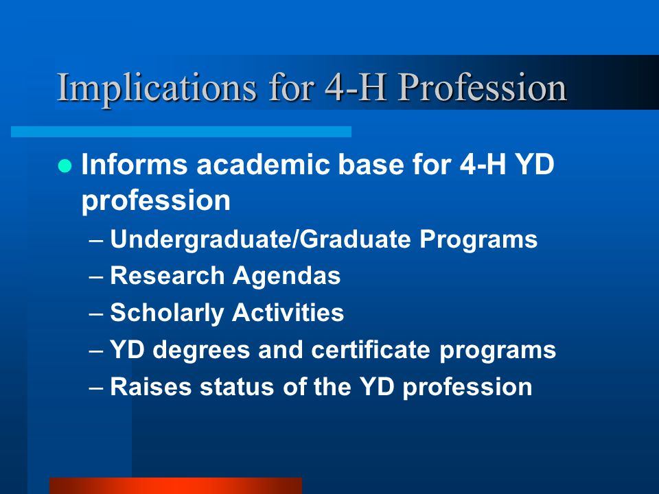 Implications for 4-H Profession Informs academic base for 4-H YD profession –Undergraduate/Graduate Programs –Research Agendas –Scholarly Activities –YD degrees and certificate programs –Raises status of the YD profession