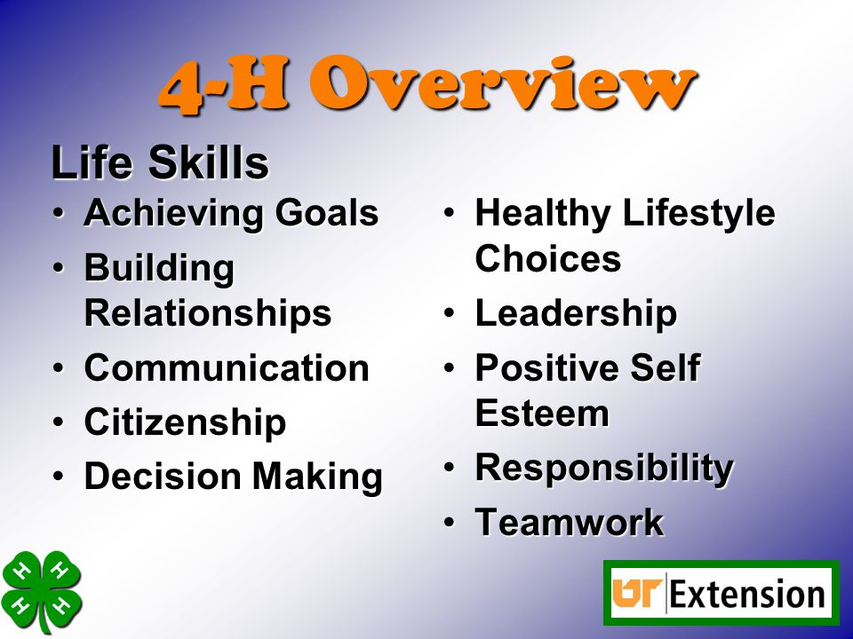 4-H Overview Achieving GoalsAchieving Goals Building RelationshipsBuilding Relationships CommunicationCommunication CitizenshipCitizenship Decision MakingDecision Making Healthy Lifestyle ChoicesHealthy Lifestyle Choices LeadershipLeadership Positive Self EsteemPositive Self Esteem ResponsibilityResponsibility TeamworkTeamwork Life Skills