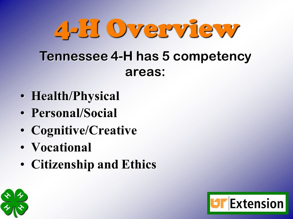 4-H Overview Health/PhysicalHealth/Physical Personal/SocialPersonal/Social Cognitive/CreativeCognitive/Creative VocationalVocational Citizenship and EthicsCitizenship and Ethics Tennessee 4-H has 5 competency areas: