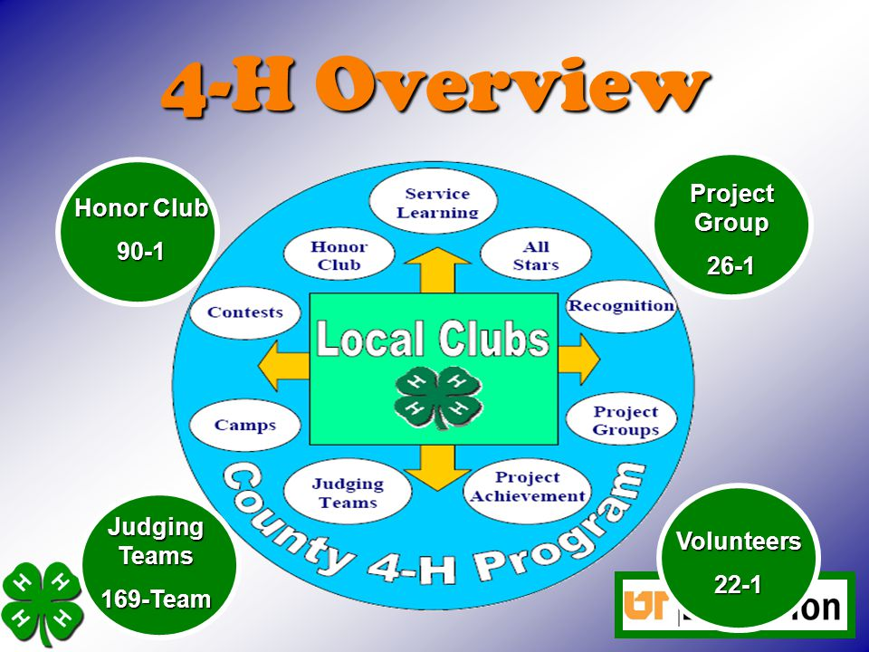 4-H Overview Honor Club 90-1 Project Group 26-1 Judging Teams 169-Team Volunteers22-1