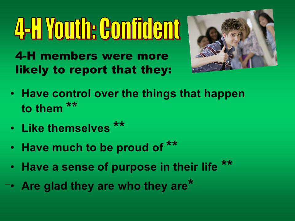 4-H members were more likely to report that they: Have control over the things that happen to them ** Like themselves ** Have much to be proud of ** Have a sense of purpose in their life ** Are glad they are who they are *
