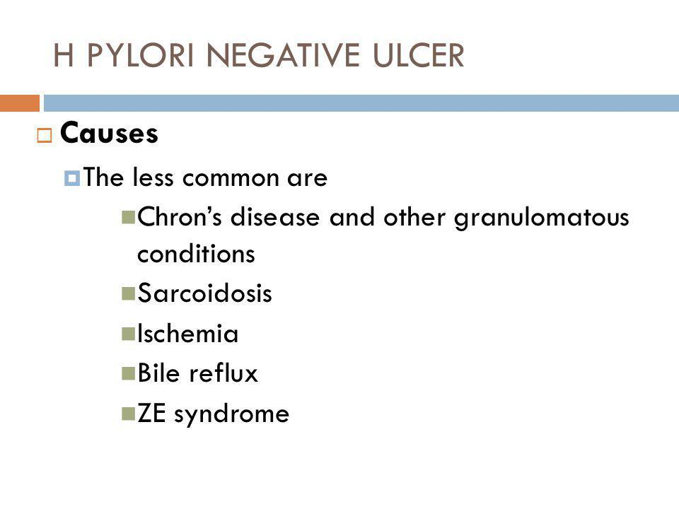 H PYLORI NEGATIVE ULCER  Causes  The less common are Chron's disease and other granulomatous conditions Sarcoidosis Ischemia Bile reflux ZE syndrome