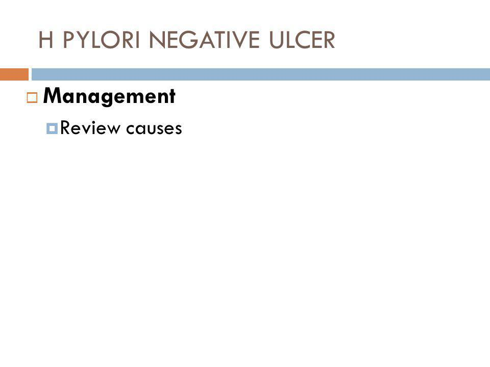 H PYLORI NEGATIVE ULCER  Management  Review causes