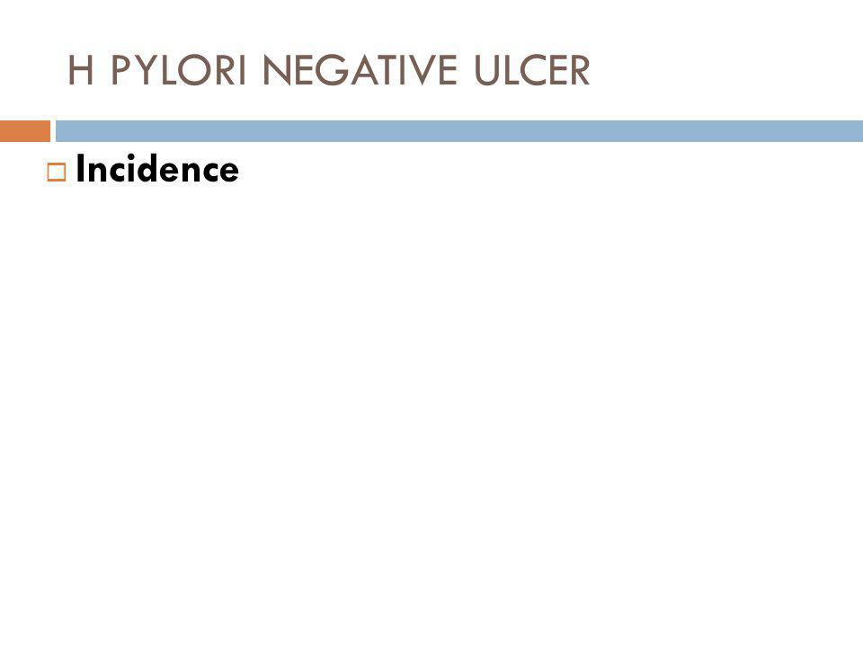 H PYLORI NEGATIVE ULCER  Incidence  The frequency is not exactly known but it is rising as the treatment or eradication of H Pylori is more successful.
