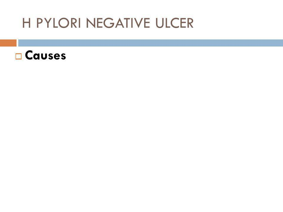 H PYLORI NEGATIVE ULCER  Clinical Implications and Complications  H Pylori negative ulcers can be refractory.