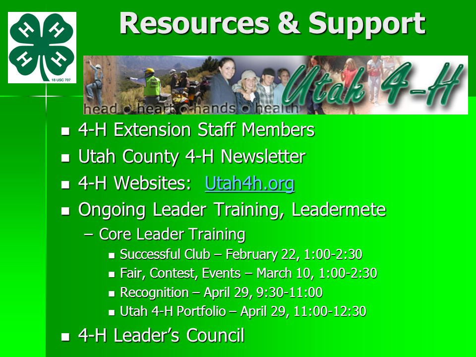 Resources & Support 4-H Extension Staff Members 4-H Extension Staff Members Utah County 4-H Newsletter Utah County 4-H Newsletter 4-H Websites: Utah4h