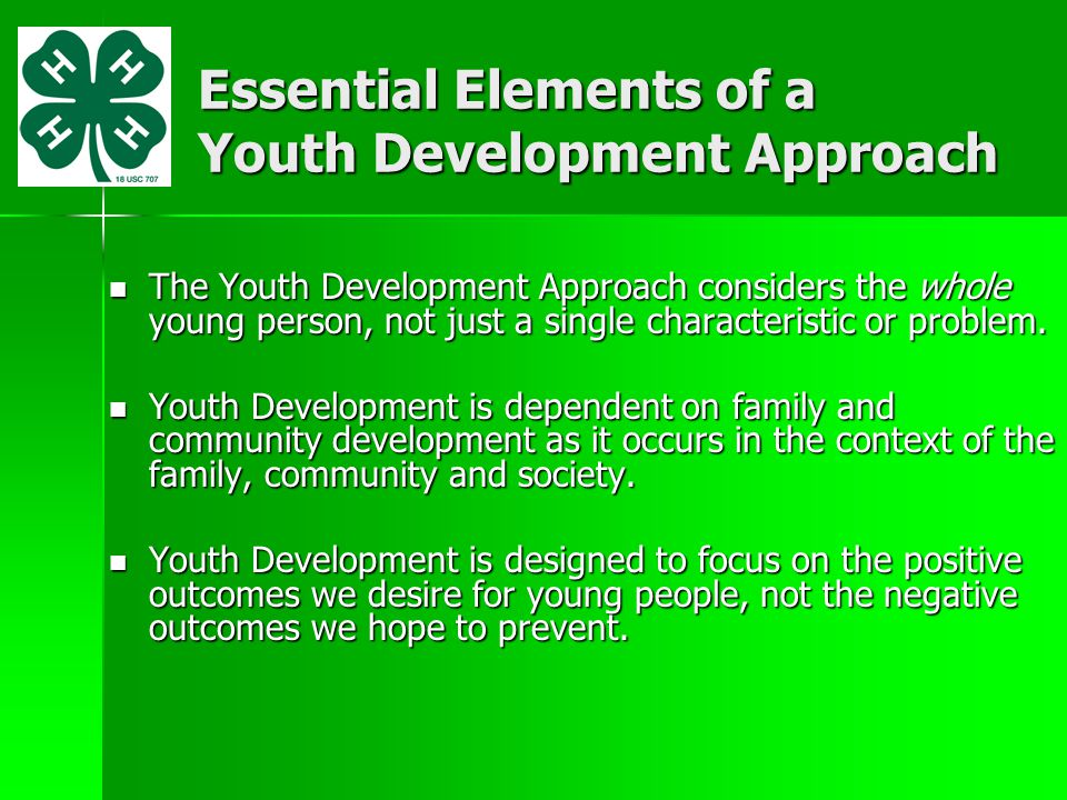 If Youth Needs are met in Positive Ways: Youth develop characteristics most of us relate to character...