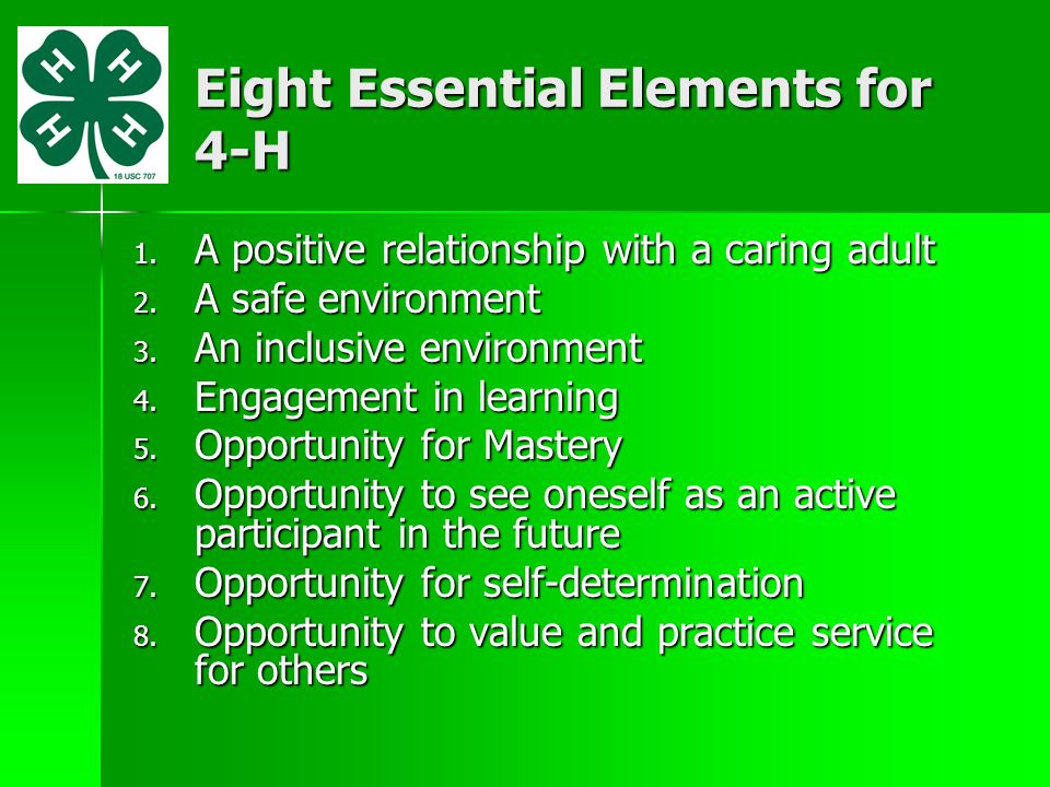 Eight Essential Elements for 4-H 1. A positive relationship with a caring adult 2. A safe environment 3. An inclusive environment 4. Engagement in lea