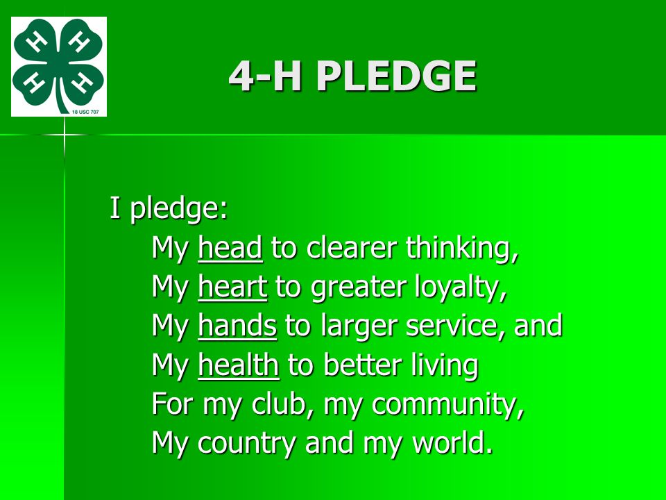 4-H PLEDGE I pledge: My head to clearer thinking, My heart to greater loyalty, My hands to larger service, and My health to better living For my club,