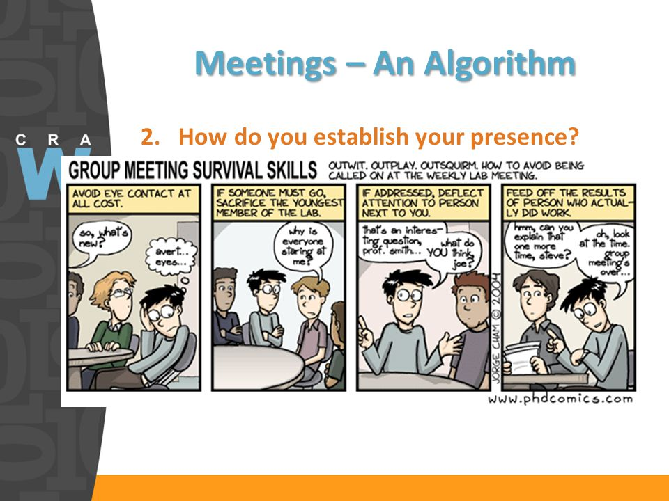 Meetings – An Algorithm 2.How do you establish your presence.