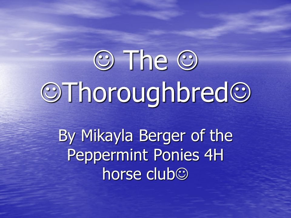 The Thoroughbred The Thoroughbred By Mikayla Berger of the Peppermint Ponies 4H horse club By Mikayla Berger of the Peppermint Ponies 4H horse club