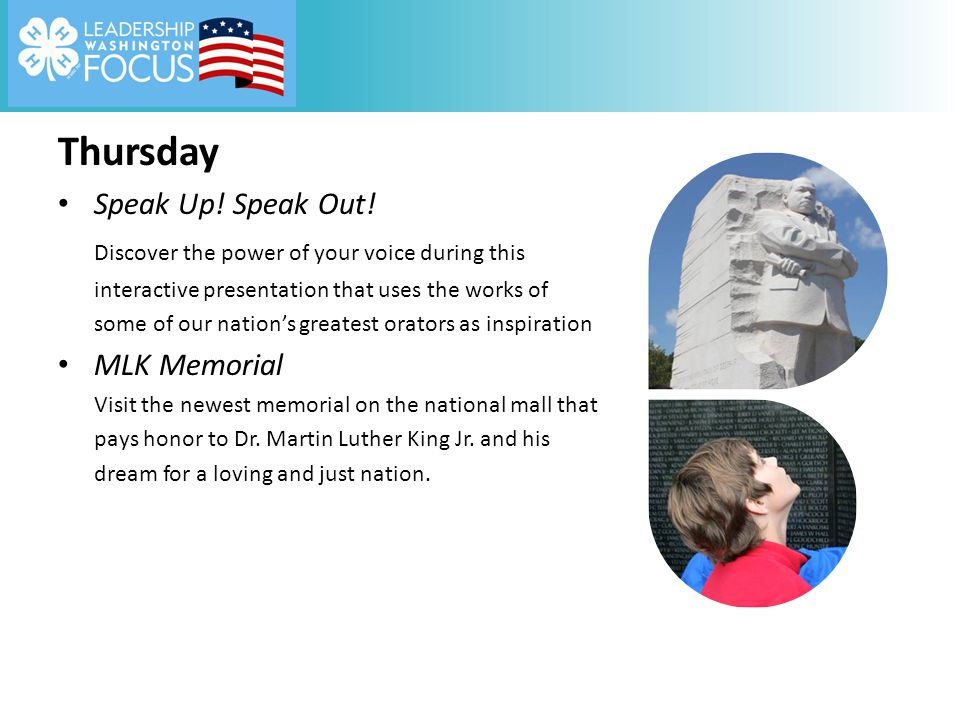 Thursday Speak Up! Speak Out! Discover the power of your voice during this interactive presentation that uses the works of some of our nation's greate