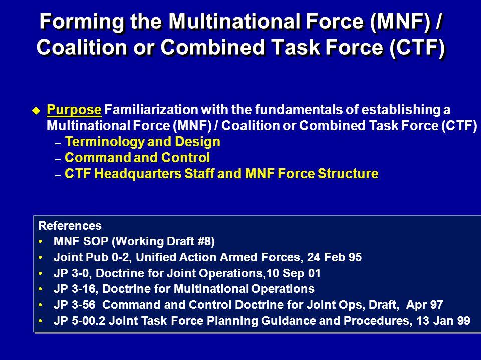 u Purpose u Purpose Familiarization with the fundamentals of establishing a Multinational Force (MNF) / Coalition or Combined Task Force (CTF) – Termi