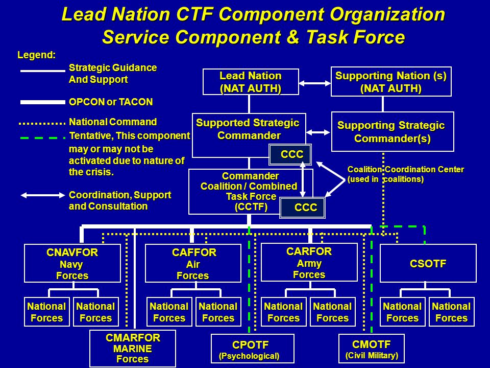 Lead Nation (NAT AUTH) Supported Strategic Commander Supporting Strategic Commander(s) Commander Coalition / Combined Task Force (CCTF) CAFFOR CAFFORA