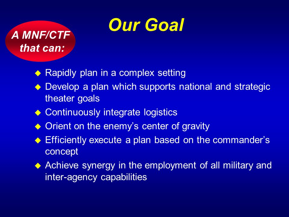 A MNF/CTF that can: Our Goal u Rapidly plan in a complex setting u Develop a plan which supports national and strategic theater goals u Continuously i