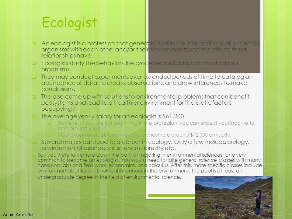 Ecologist The job of an ecologist is to record and monitor species in their natural habitat and to become involved in protecting and taking care of the environment they live in Salary- $76,000 a year Education needed - A degree in biological science or a degree in an environmental subject such as ecology, biology, botany, marine biology, or zoology