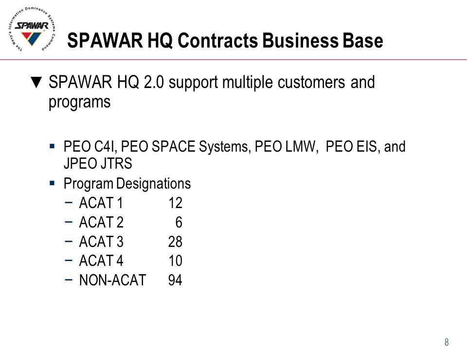 8 SPAWAR HQ Contracts Business Base ▼ SPAWAR HQ 2.0 support multiple customers and programs  PEO C4I, PEO SPACE Systems, PEO LMW, PEO EIS, and JPEO J