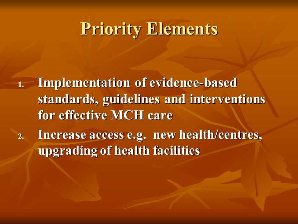 Priority Elements 1. Implementation of evidence-based standards, guidelines and interventions for effective MCH care 2. Increase access e.g. new healt