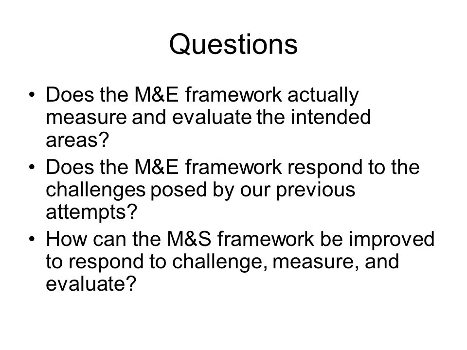 Questions Does the M&E framework actually measure and evaluate the intended areas.