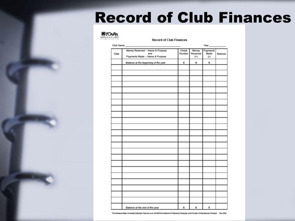 Record of Club Finances