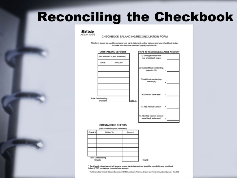 Reconciling the Checkbook
