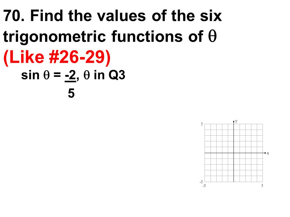 70. Find the values of the six trigonometric functions of  (Like #26-29) sin  = -2,  in Q3 5 y x 5 5 -5