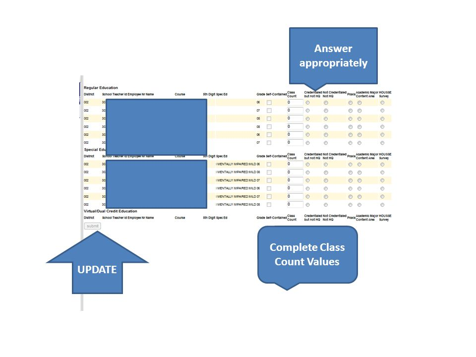 Answer appropriately Complete Class Count Values UPDATE