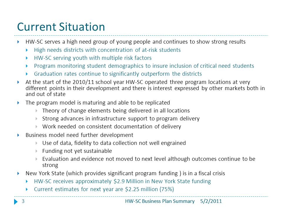 HW-SC Business Plan Summary Current Situation 3  HW-SC serves a high need group of young people and continues to show strong results  High needs dis
