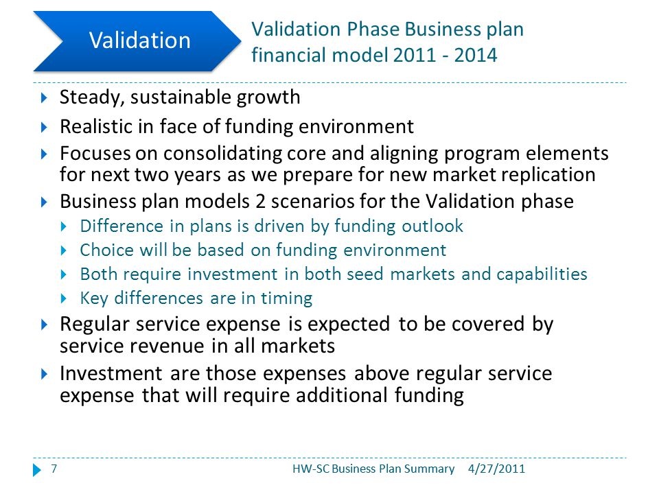 HW-SC Business Plan Summary Validation Phase Business plan financial model 2011 - 2014 7  Steady, sustainable growth  Realistic in face of funding e