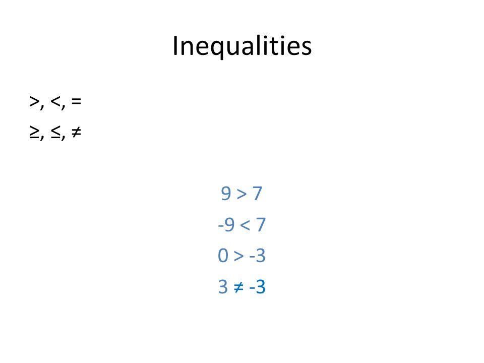 Inequalities >, <, = ≥, ≤, ≠ 9 > 7 -9 < 7 0 > -3 3 ≠ -3