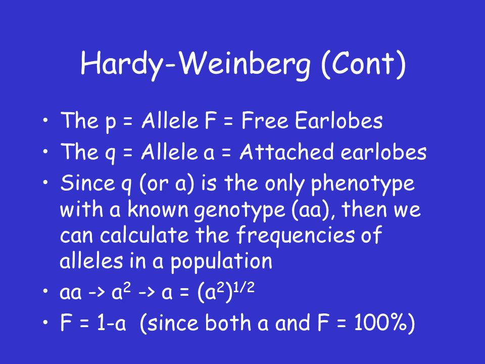 Hardy-Weinberg (Cont) The p = Allele F = Free Earlobes The q = Allele a = Attached earlobes Since q (or a) is the only phenotype with a known genotype (aa), then we can calculate the frequencies of alleles in a population aa -> a 2 -> a = (a 2 ) 1/2 F = 1-a (since both a and F = 100%)