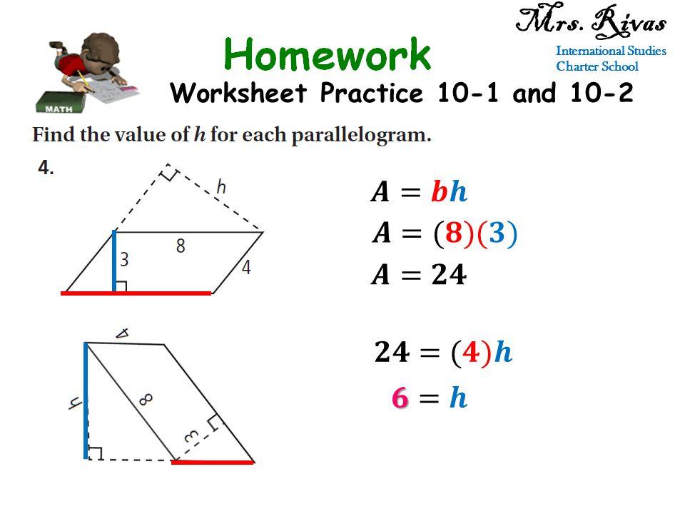 Worksheet Practice 10-1 and 10-2 Mrs. Rivas International Studies Charter School