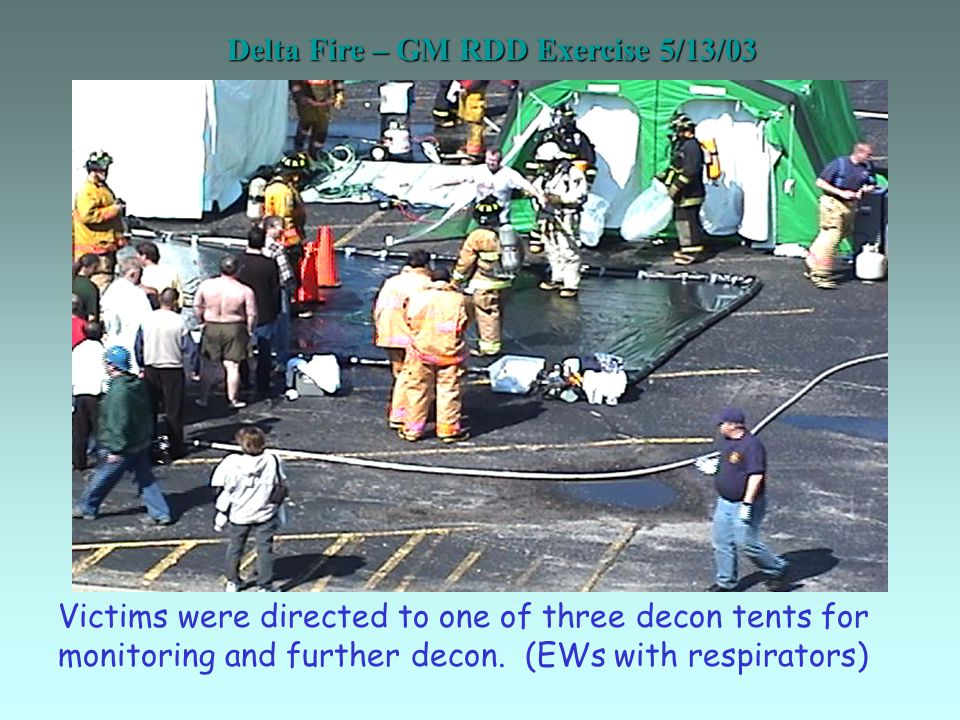 Delta Fire – GM RDD Exercise 5/13/03 Victims were directed to one of three decon tents for monitoring and further decon.