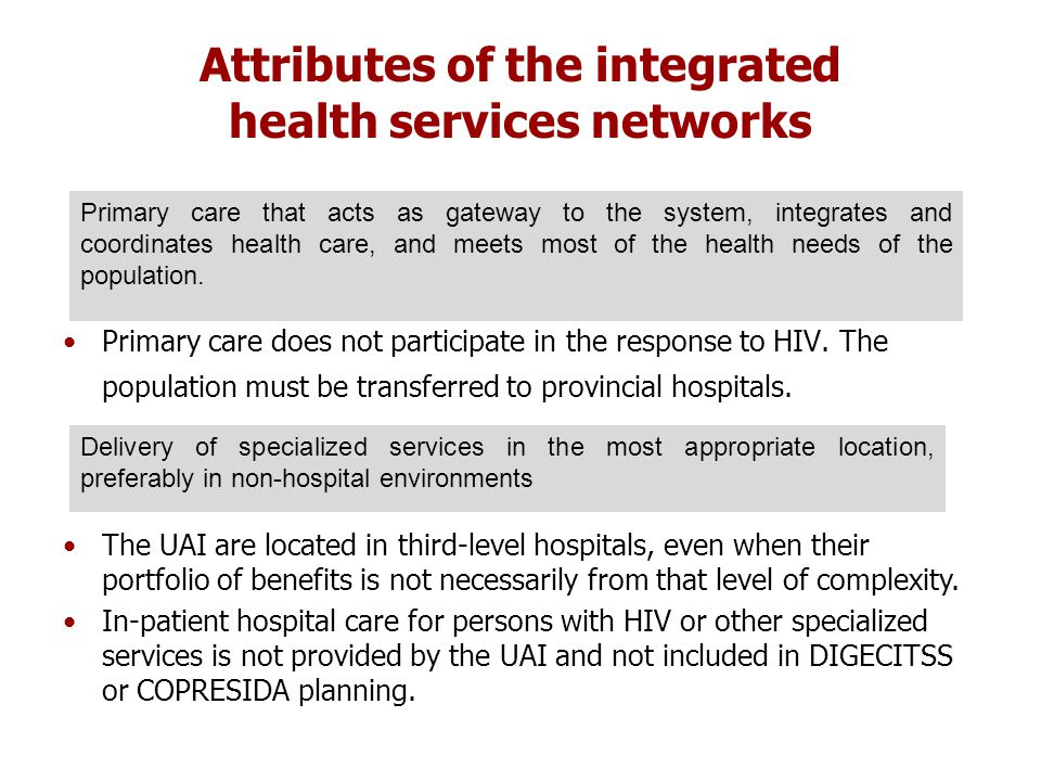 Attributes of the integrated health services networks Primary care does not participate in the response to HIV.