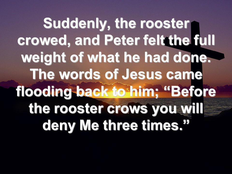 Suddenly, the rooster crowed, and Peter felt the full weight of what he had done.