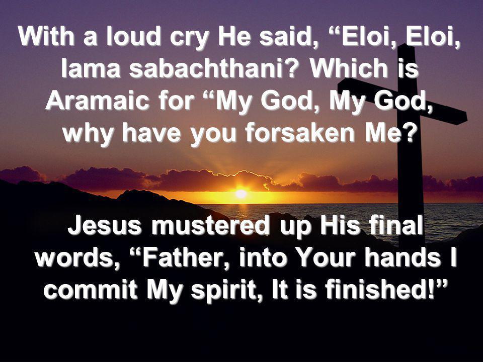 With a loud cry He said, Eloi, Eloi, lama sabachthani.