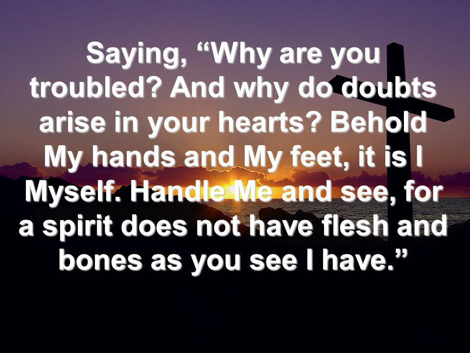 Saying, Why are you troubled. And why do doubts arise in your hearts.