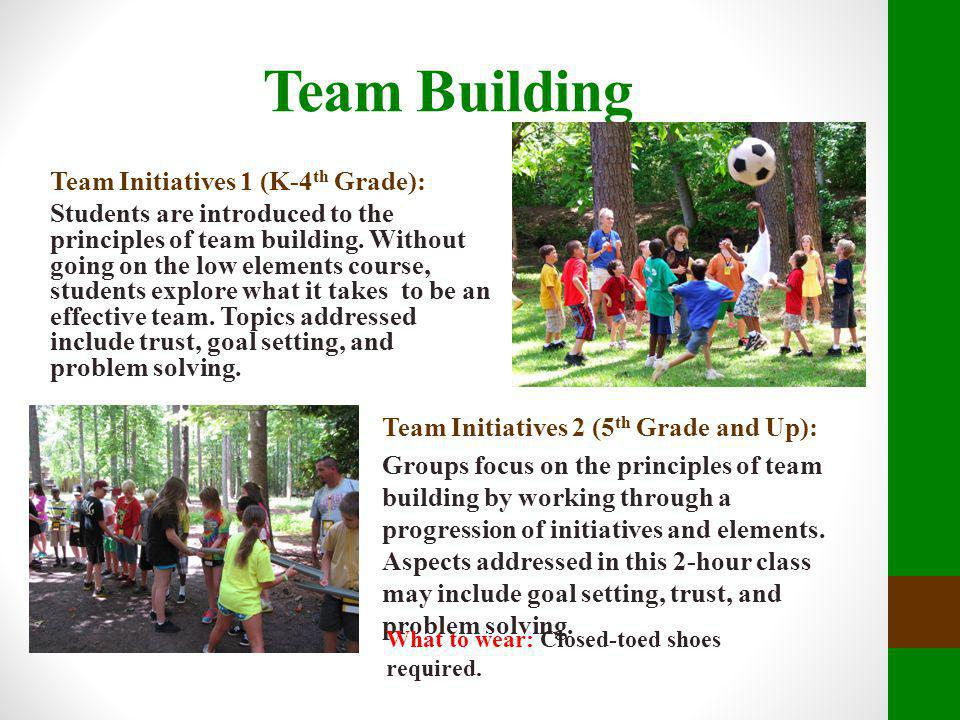Team Building Team Initiatives 1 (K-4 th Grade): Students are introduced to the principles of team building. Without going on the low elements course,