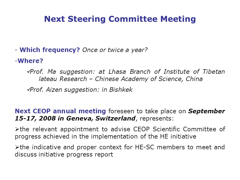 Next Steering Committee Meeting - Which frequency.