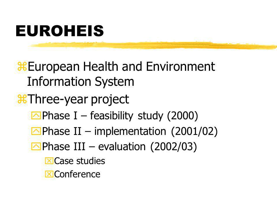 EUROHEIS zEuropean Health and Environment Information System zThree-year project yPhase I – feasibility study (2000) yPhase II – implementation (2001/02) yPhase III – evaluation (2002/03) xCase studies xConference