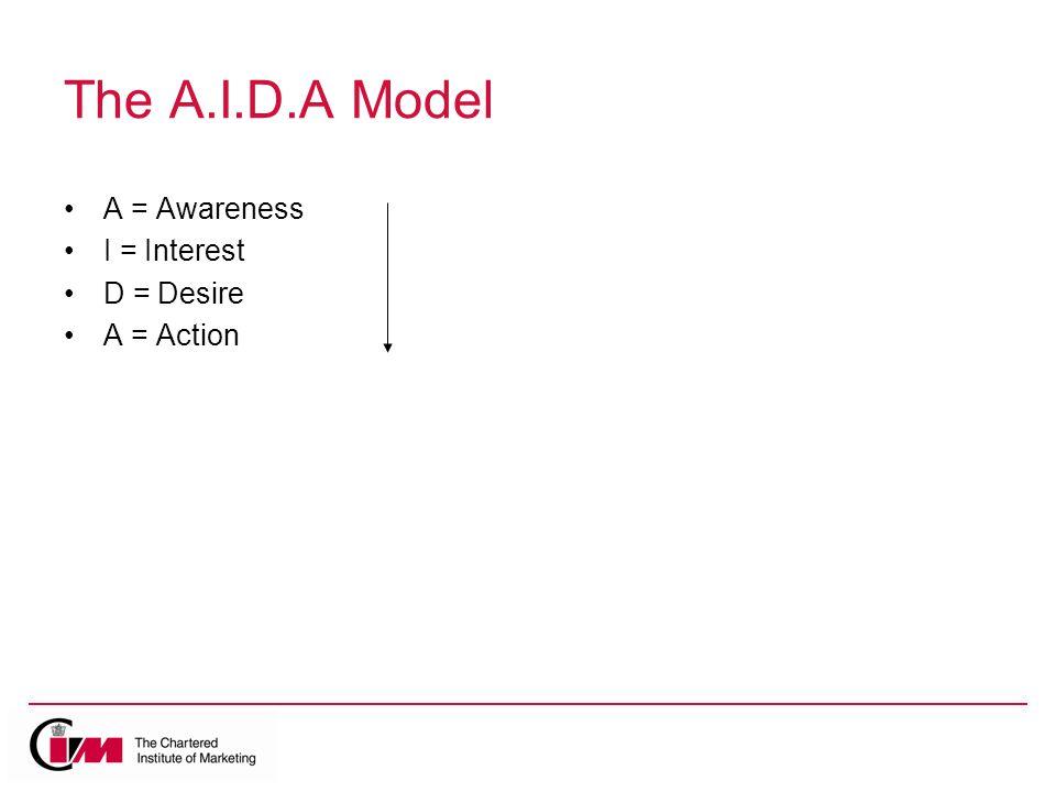 The A.I.D.A Model A = Awareness I = Interest D = Desire A = Action