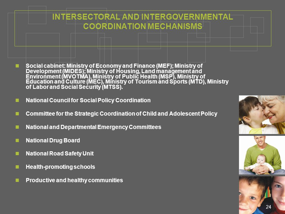 24 INTERSECTORAL AND INTERGOVERNMENTAL COORDINATION MECHANISMS Social cabinet: Ministry of Economy and Finance (MEF); Ministry of Development (MIDES); Ministry of Housing, Land management and Environment (MVOTMA), Ministry of Public Health (MSP), Ministry of Education and Culture (MEC), Ministry of Tourism and Sports (MTD), Ministry of Labor and Social Security (MTSS).